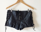 Vintage Lace Up Black Leather Shorts- M, Corset Style, Goth Hipster Burnout, Black Shiny Leather Hot Pants