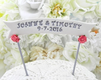 Wedding Cake Topper Banner - YOUR NAMES or Custom Phrase, White, Coral and Silver