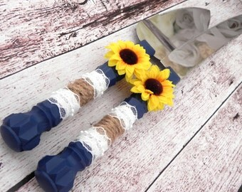 Rustic Sunflower Wedding Cake Server And Knife Set, Navy Blue with Burlap and Lace, Country Wedding,  Bridal Shower Gift, Wedding Gift