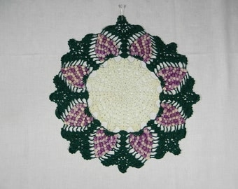 Crocheted Doily with Raised Variegated Purple Grapes and Green Leaves, 16 Inches