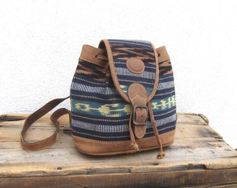 90s Mini Backpack Hipster Boho Guatemalan Vintage Woven Cotton and Leather Ethnic Small Rucksack