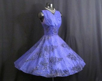 Vintage 1950's 50s Periwinkle Indigo Blue Flocked Organza Chiffon Party Prom Wedding Dress Medium Size