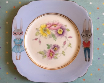 Hipster Bunnies with Floral Centre Vintage Illustrated Plate