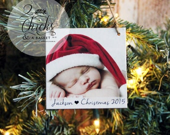 Personalized Christmas Ornament, Photo Ornament, Baby's First Christmas Ornament, Handmade Wood Photo Ornament