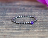 Amethyst Ring in Oxidized Sterling Silver - Single Stacking Ring  Dainty Silver Ring Unique Engagement Ring  Gift Under 50  Stocking Stuffer