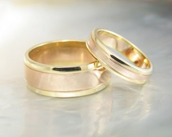 18k two tone wedding rings -- unique his and hers wedding bands