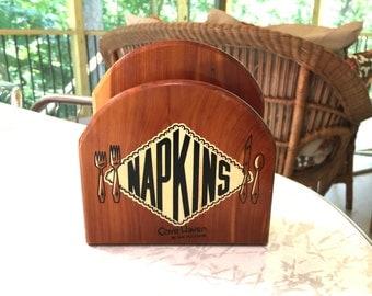 Vintage Wooden Napkin Holder Word Napkins