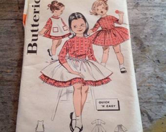 Vintage Butterick Sewing Pattern 9519 Girl's Size 6 Apron Dress