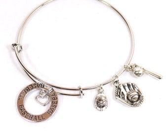 Baseball Bracelet  -  Expandable Baseball Lover's Silver Bangle Bracelet with 6 Charms  - Personalization Available (B-baseball)