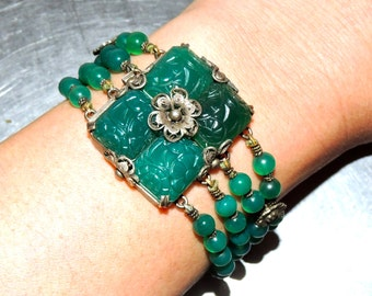 vintage jade bracelet - 1920s-30s carved multi-strand spinach jade bracelet w/ sterling