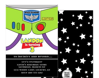 Toy Story Buzz Lightyear Theme Printable Birthday Party Invite - Petite Party Studio