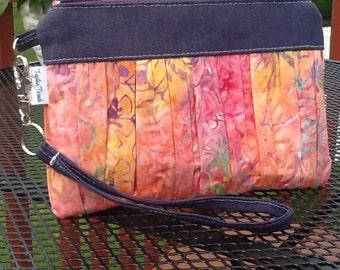 Bright Orange Pink Batik Print Ruffled Wristlet Clutch Zipper Bag