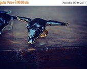 VALENTINES SALE GYPSY Longhorn /// Bull Electroformed Ring /// Gold