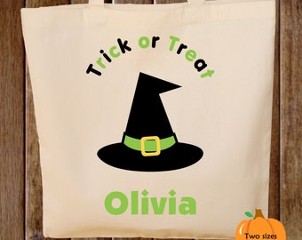 Trick or Treat Bag Halloween Tote Bag Trick or Treat Bag Canvas Tote Bag Witch Hat