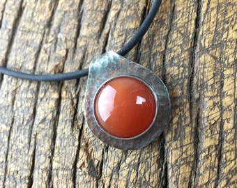 SALE! Petite Classic Textured Pendant with Rollover Bail and Carnelian Cabochon