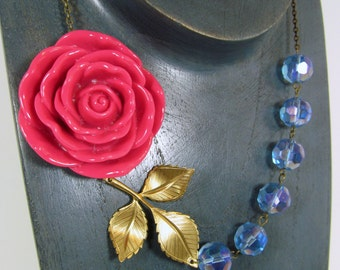 Oversized Fuchsia Light Blue Beads Pink Flower Necklace, Large Leaf Branch, Cherry Red - 0109