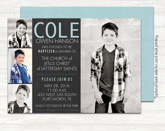 lds baptism invitation, modern baptism invitation, printable baptism announcement - digital baptism invitation - Chalk quad Boy
