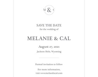"""Monogram Save the Date card """"Circle Me""""; SAMPLE ONLY"""