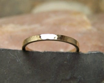 14k Yellow Gold 2mm Hammered Band - Solid Gold Band - Sizes 4-9 US