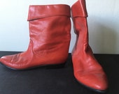 Vintage 1980's Red Peter Kaiser Slouch Ankle Boots size 10