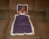 Knit Purple & White Doll Blanket And Pillow With Crochet Trim