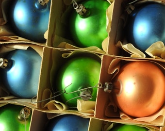 Vintage Christmas Box Of Glass Ornaments