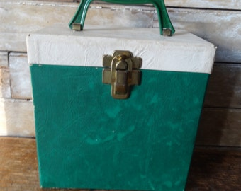 Vintage Record Case 1950's or 60s Green and Cream