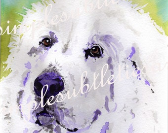 "Great Pyrenees Watercolor print 8""x8"" square"