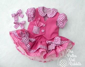 Toddler Girls Pink Denim Cowgirl Dress, Twirl Skirt with Chiffon Petti-Top-Vest and 2 Pony Bows, Made to Order in sizes 18 month through 5