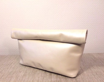 White Shinny Soft Leather Clutch