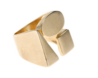 Geometric Ring   Triangle Ring   Sqaure Ring   14k Gold Plated Ring   Statement Ring   Geometric Jewelry