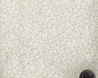 Cotton Fabric - White Scroll Print on Cream  - by the yard