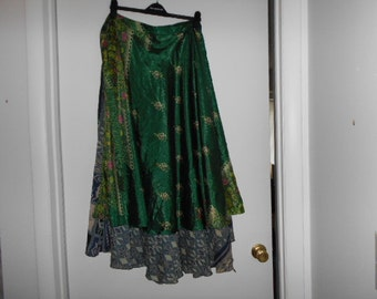SILK RECYLED VTG SAris Wrap Skirt Dress convertable one size regular as skirt fits Xs to 1x & Midi SkiRT