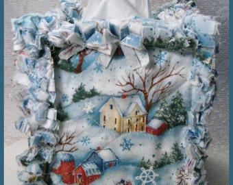 Rag Quilt Boutique Tissue Box Cover Handmade with Winter Scenes Cotton Fabrics