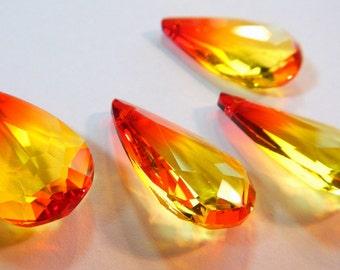 Large Faceted Pendant ~ Amberina Style Glass ~ Swarovski Crystal