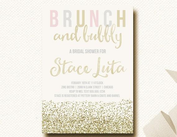 Bridal shower invitation brunch champagne bubbly by for Champagne brunch bridal shower