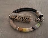 Leather Wrap Bangle, Love Jewelry, Black Yellow Bracelet Boho Chic, Love Bracelet Shabby Chic, Punk Style Bracelet