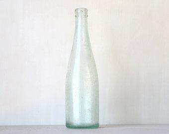 Old Vintage Tall Blue Vintage Glass Bottle Vase