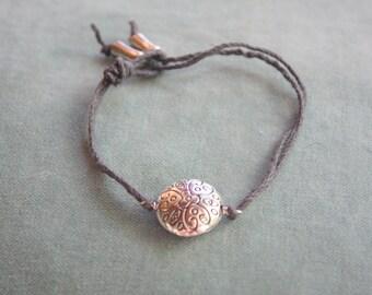 Alex - Hemp and Metal Bracelet