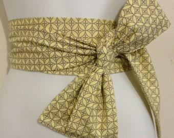 Kimono Obi Belt Sash One Size Yellow & Gray