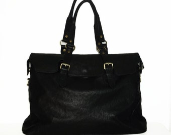 Black Leather Tote Shoulder Cross-body Bag Johanna XXL fits a 17 inches Laptop