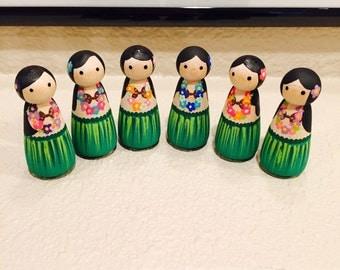 Set of 6 Luau inspired Hawaiian Peg Dolls toys craft