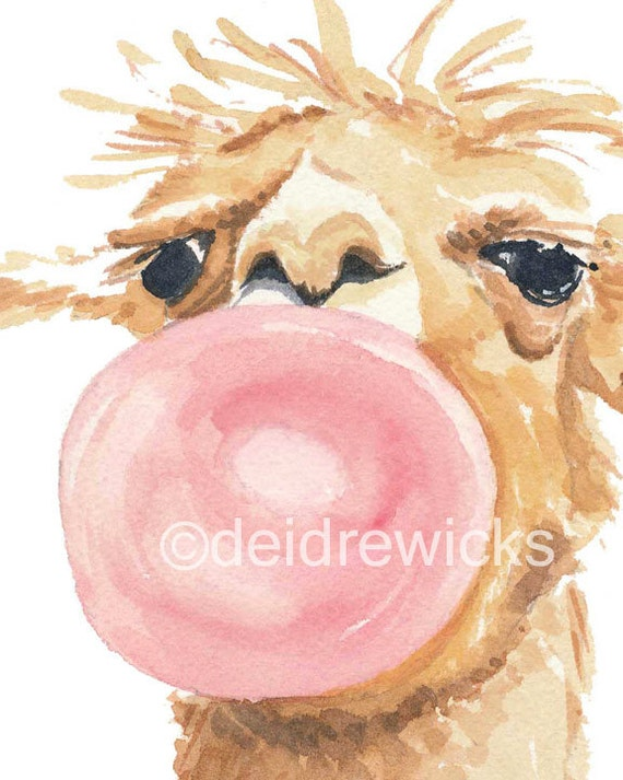Llama Watercolour PRINT - Bubble Gum, Llama Painting, Nursery Art, 8x10 print