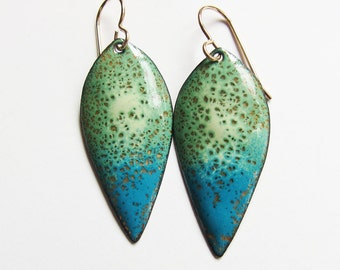 Enamel dangle earrings Green, turquoise blue leaf drop earrings One of a kind Spring nature inspired jewelry
