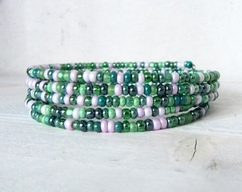 Green, Pink, and Purple Beaded Memory Wire Bracelet, Whimsical Green Memory Wrap Bracelet Green Beaded Bracelet