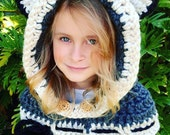 CROCHET PATTERN - Crochet Cowl Hood - Camille the Cat Hood Cowl Scarf - Sizes Child and Adult