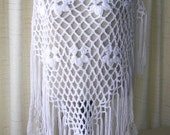 Hand Crochet LARGE Shawl Triangle Scarf in WHITE Acrylic yarn/ CUSTOM cochet shawl / Birthday Gift / Gift for mother / Ready to Ship