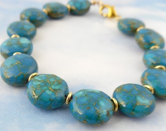 Deep turquoise and pyrite gemstone coin bracelet -marbled teal and gold beads -  free shipping in USA