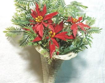 1960s 1970s Christmas Red Poinsettia Greens Cornucopia Basket Vintage Decorations