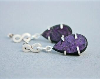 Iridescent Purpurite Infinity Drop Earrings, Purpurite Earrings in Sterling